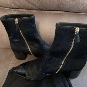 89305a3d CHANEL Boots Black Calf Hair Patent CC Short Ankle NWT
